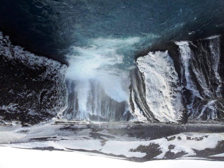 Doppelwasserfall Hjalparfoss